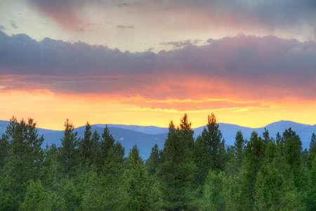 Zonsondergang in de Rockies