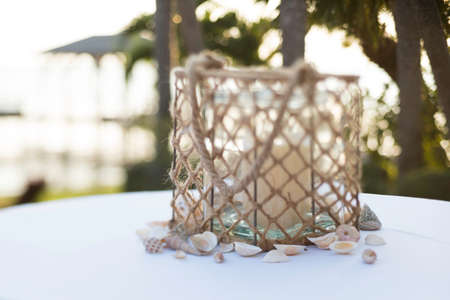 Place Setting at Wedding in Florida Stock Photo