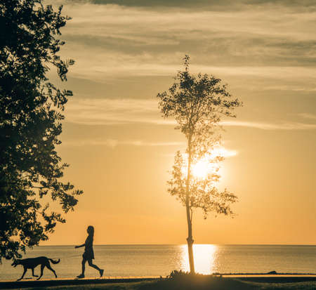 Walking the dog in Duluth, MN at Sunrise.
