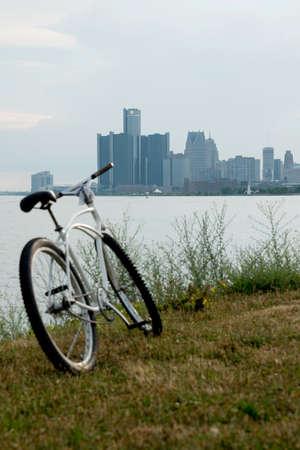 Detroit Skyline from Belle Isle Stock Photo