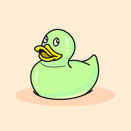 cute light green rubber duck on peachy background, vector illustration