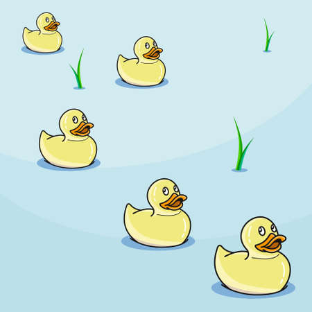 five cute light yellow rubber ducks in pond on blue background, vector illustration