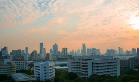 Bangkok view in the evening under the sunset behind clouds photo