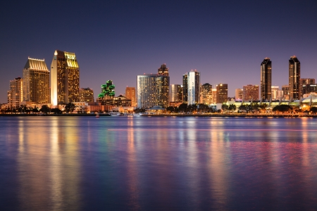 bay: San Diego Skyline Long Exposure Stock Photo