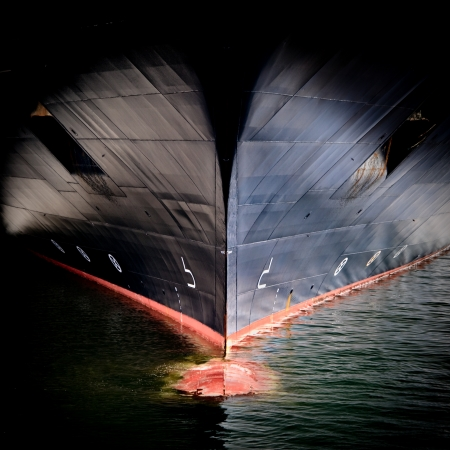Bow of a Large Commercial Ship photo