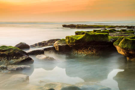 Beach Sunset with Algae Covered Rocks  long exposure  photo