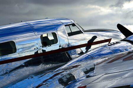 chrome: Shiny Fuselage of a Lockheed Electra Jr  Stock Photo