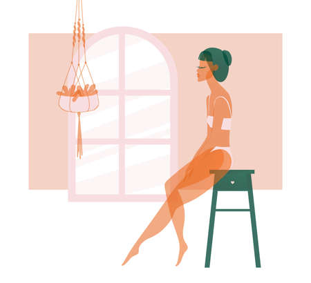Girl in a light dress posing sitting on a chair stock illustration