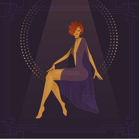 Girl circus actress show cabaret. Stylish vintage, transparent gradient. plot from the past. 1920s fashion magazine, art deco style, luxury, high society woman. Under the circus dome 向量圖像