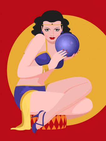 A girl in a fortune-teller costume divines on a magic ball. Magical predictions. Flat vector illustration.