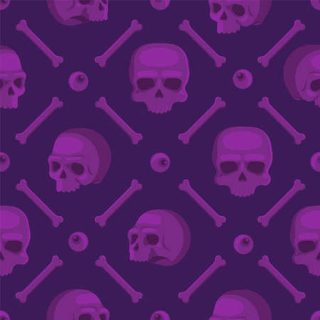 Seamless pattern with skulls. Violet skulls from different angles, a lonely magic eye and bones. Flat vector illustration.