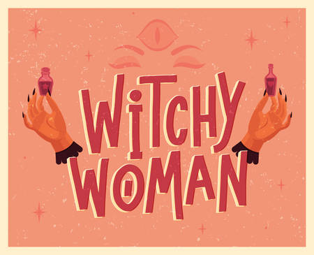 Halloween lettering poster in vintage style. Witch's hands with magic potions. Flat vector illustration. Ilustração