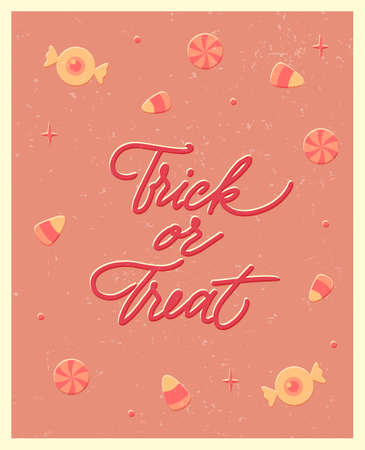 Halloween poster with lettering in vintage style. Trick or treat. Flat vector illustration.