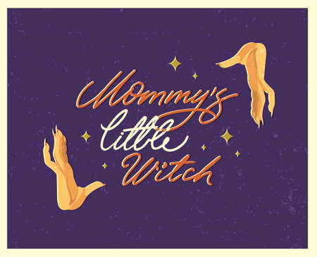 Halloween poster with lettering in vintage style. Flat vector illustration.