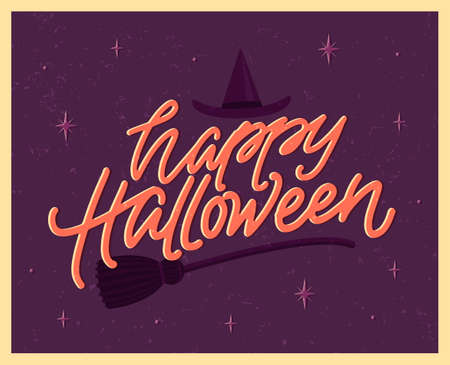 Happy Halloween poster with lettering in vintage style. Witch's broom and hat on the background. Flat vector illustration.