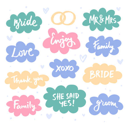 Lettering in clouds set. Wedding greeting words. Message package flat hand drawn illustration. Bride, enjoy, mr and Mrs, Groom, family, love, tank you phrases. Rings and hearts design element