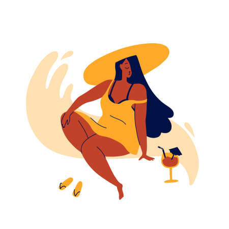 A young girl in a beach hat and a large T-shirt sits sunbathing and drinks a cocktail.  Sea wave.  Respect and love for yourself.  Flat bright vector illustration, minimal style. Ilustração