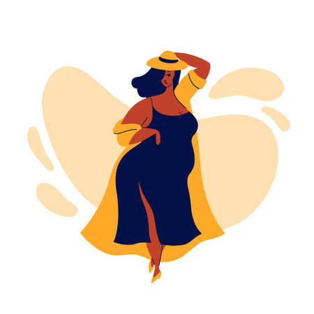 A young body-girl in a dress a hat and a raincoat walks. Body positive and happiness. Respect and love for yourself. Flat bright vector illustration, minimal style. Hand drawn design element Vektorgrafik