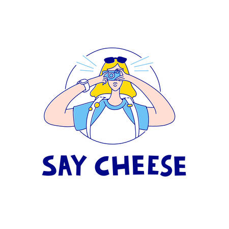 """""""Say cheese"""" hand drawn vector phrase lettering. Hand-drawn inspiration inscription. Girl blonde with a backpack takes a photo on camera. Postcard design element"""
