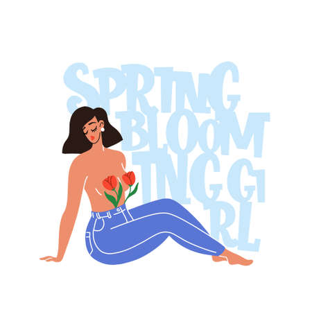 Spring blooming girl hand drawn vector lettering. Hand-drawn inspires and motivates the inscription. Abstract illustration with text.  Girl in jeans sits, and two tulips covering her breasts. Illustration