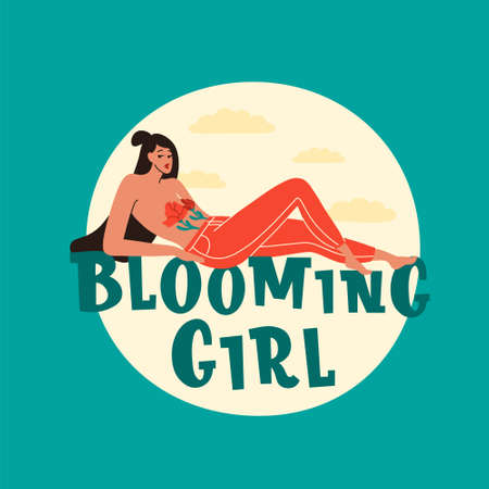 Blooming girl hand drawn vector lettering. Hand-drawn inspires and motivates the inscription. Abstract illustration with text.  Girl in jeans, two tulips covering her breasts. Spring romance.