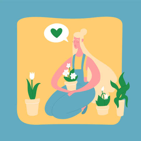A young girl with blonde hair in a jumpsuit sits and holds a flower in a pot. Respect and love of nature. Flat bright vector illustration, minimal style. T shirt print, postcard, banner design element