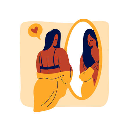 A tanned girl stands in front of a mirror and looks at her body in reflection. Respect and love for yourself. Flat bright vector illustration, minimal style.