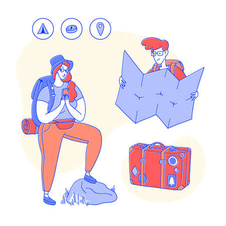 Set of design elements associated with travel. People with a backpack, cellphone, map, glasses and a suitcase with stickers. Vector line art flat illustration, minimal style. Illustration