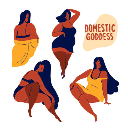 A set of confident poses.  Romantic girls are domestic  goddesses in underwear, home clothes.  Body positivity, respect and love for yourself.  Flat bright vector illustration, minimal style.
