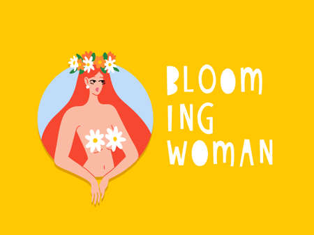 Blooming woman hand drawn vector lettering. Hand-drawn inspires and motivates the inscription. Abstract illustration with text.  Girl with red hair with a wreath of flowers. Spring romance.