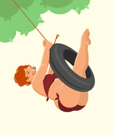 A beautiful plus-size woman with red hair in a swimsuit laughs and rides a tire swing. Pin-up style. Vector flat illustration.