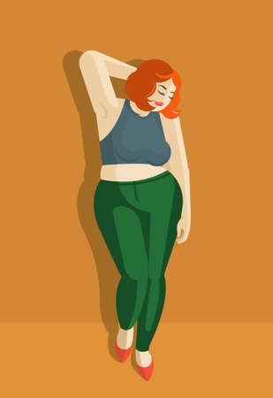 A beautiful plump girl with red hair is standing against the wall. Dressed in a tight topic and jeans. Very cute and flirty. Vector flat illustration.