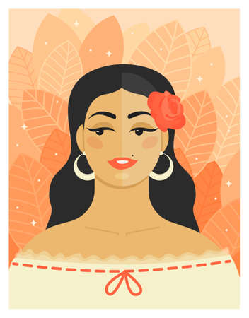 Young beautiful woman with a rose in her hair and a white blouse in vintage style. Big earrings rings. Very cute, playful and flirty. Vector flat illustration. Background of leaves. Ilustração
