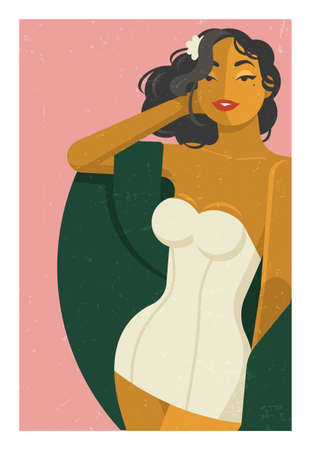 Beautiful filipina with a flower in her hair in a white swimsuit in vintage style. Very cute, playful and flirty. Vector flat illustration.
