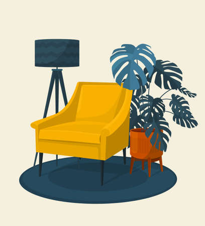 Scandinavian style interior vector illustration fragment. Modern armchair surrounded by home plant. Monstera plant. Cosiness and comfort.
