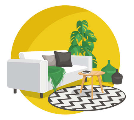 Scandinavian style interior vector fragment. Sofa with pillows and a blanket near the coffee table with a book and art nouveau vases. Round carpet and in a circle. Monstera plant.