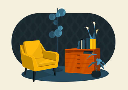 Scandinavian style interior flat vector colorful illustration fragment. Armchair, chest of drawers with a vase of lilies and books, a lamp floor lamp in retro style.