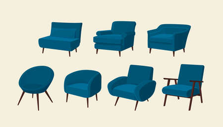Scandinavian style set vector elements. Isolated different types of armchairs for the living room in modern style. Flat colorful illustration.