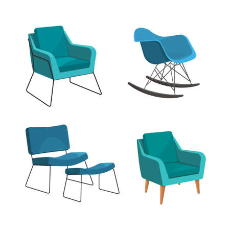 Scandinavian style set vector elements. Different types of armchairs for the living room in modern style.