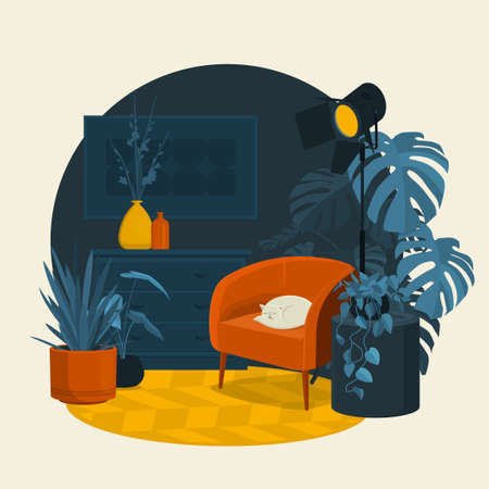 Scandinavian style interior flat vector fragment illustration. Red armchair with a cat, vases on a dresser, floor lamp in a modern style, Monstera plant, abstract painting on the wall and carpet.