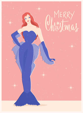 Woman in retro carnival mermaid costume for Christmas holiday and New Year. Lettering. Vintage card. Flat vector illustration. Stock Illustratie