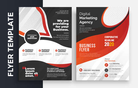 Corporate Business Flyer poster pamphlet brochure cover design layout background, two colors scheme, vector template in A4 size - Vector