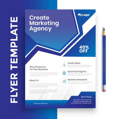 Corporate Business Flyer poster pamphlet brochure cover design layout background, two colors scheme, vector template in A4 size - Vector Vettoriali