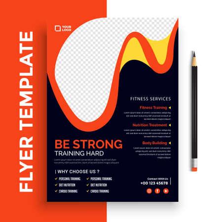 Fitness/Gym Flyer Template vector design. Layout template in A4 size. Ilustración de vector