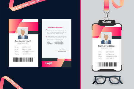 simple Id card template design with vector Vecteurs