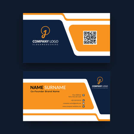 simple horizontal business card template design with vector 向量圖像