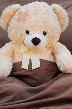 plush: Sick plush bear patient sitting up in bed.
