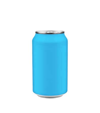 lata de refresco: Refresco azul puede aisladas en blanco Foto de archivo