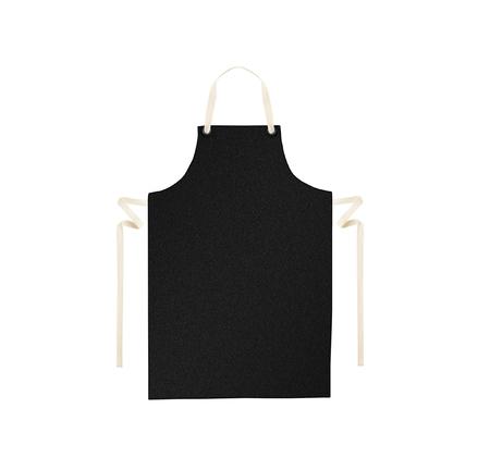 mandil: Delantal negro aislado en blanco