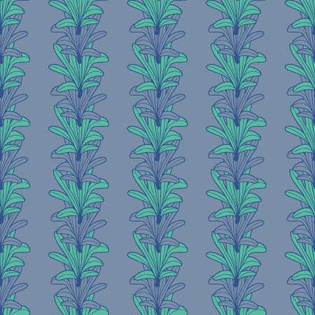 Vector green violet leaves, petals seamless pattern